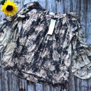 Brittany Black floral boho style lace blouse